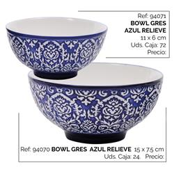 BOWL GRES AZUL RELIEVE 15 X 7.5 CM
